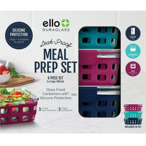 Ello Meal Prep Food Storage Glass Container Set